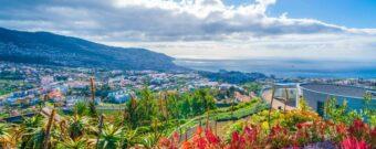 Die portugiesische Insel Madeira mit Blick auf die sonnige Hauptstadt Funchal und das Meer von einer Wiese mit Blumen aus