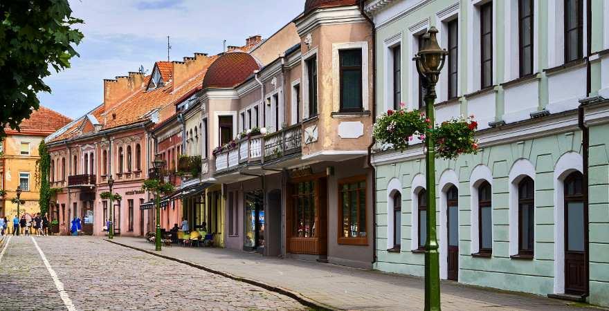 Eine Straße in der Altstadt von Kaunas