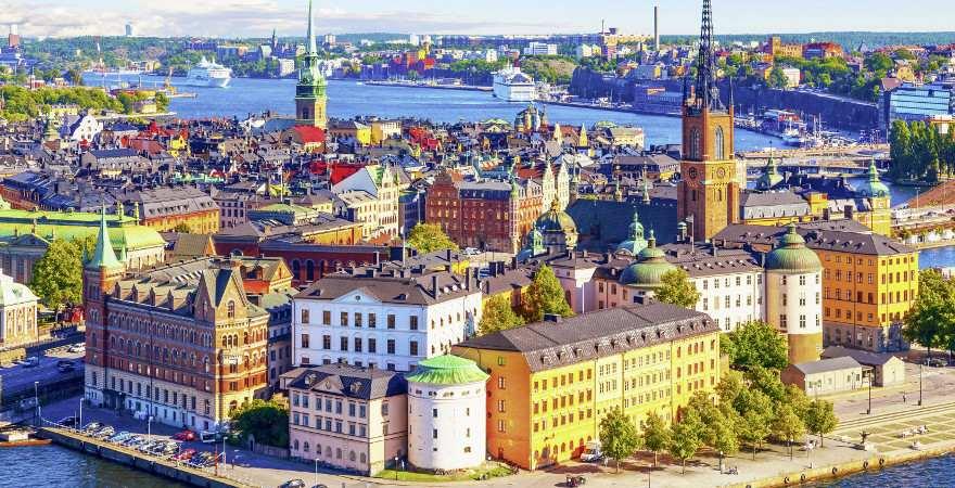 Blick auf Riddarholmen in Stockholms Altstadt