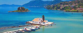 Vlacherna Kloster und Maeuseinsel vonr Korfu Stadt